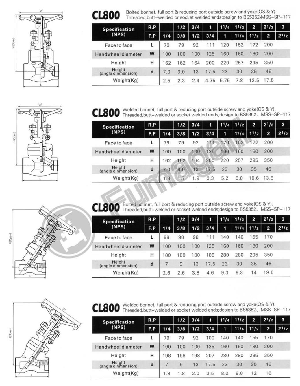Short Pattern Bellow Sealed Globe Valves CL800 LBS