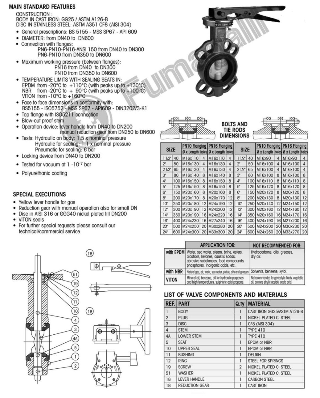 Wafer Type Cast Iron Butterfly Valves